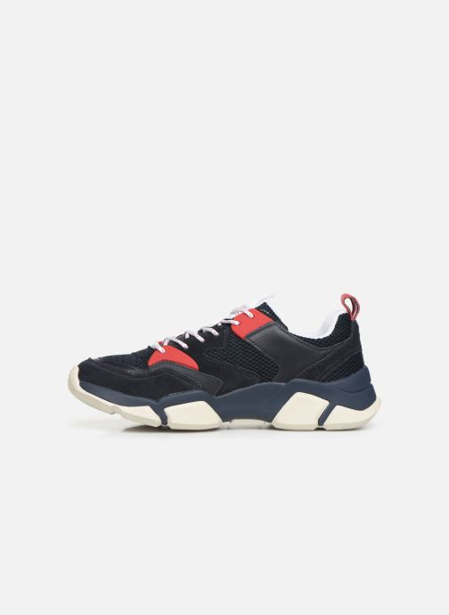 Sneakers Tommy Hilfiger CHUNKY MATERIAL MIX TRAINER Blauw voorkant