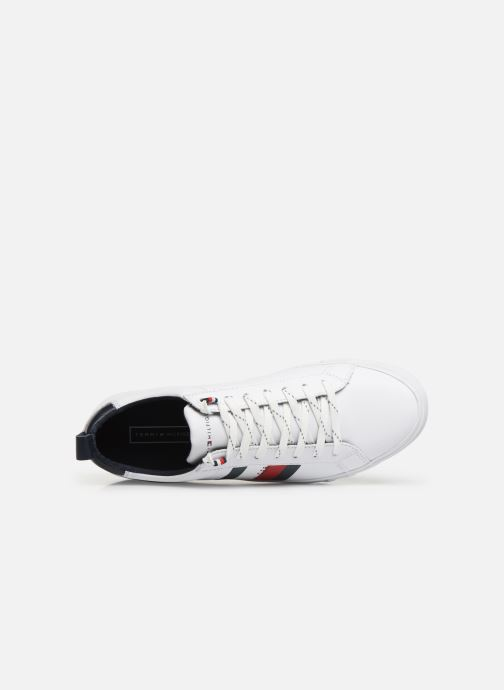 Baskets Tommy Hilfiger FLAG DETAIL LEATHER SNEAKER AH19 Blanc vue gauche