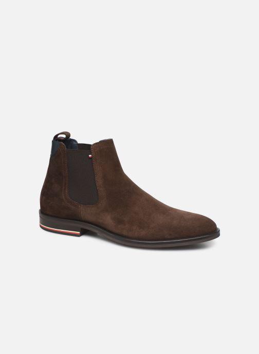 Ankelstøvler Tommy Hilfiger SIGNATURE HILFIGER SUEDE CHELSEA Brun detaljeret billede af skoene