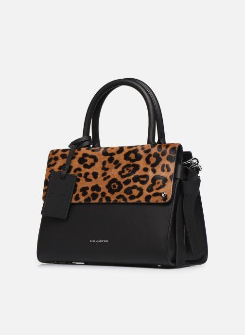 Sacs à main Karl Lagerfeld K/IKON LEOPARD SM TOP HANDLE Noir vue portées chaussures
