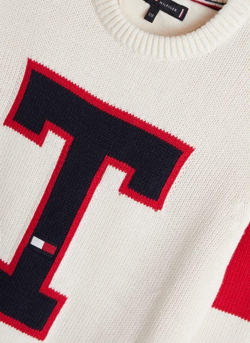 Vêtements Tommy Hilfiger H Badge Blanc vue portées chaussures