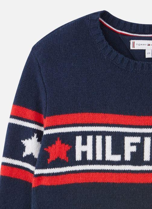 Vêtements Tommy Hilfiger Graphic Tommy Star Sweater Dress Bleu vue portées chaussures