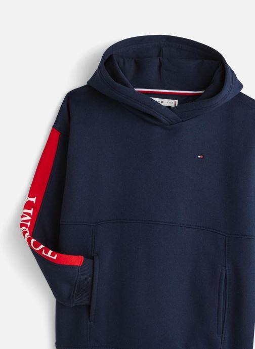 Vêtements Tommy Hilfiger Essential Colorblock Logo Hoodie Bleu vue portées chaussures