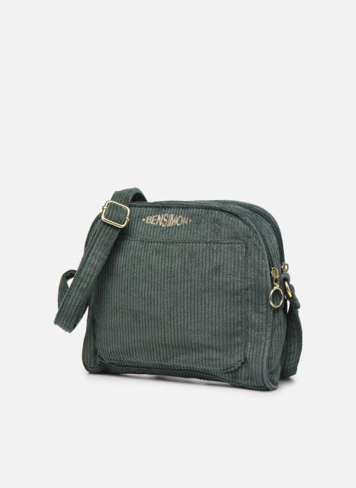 Handbags Bensimon CORDUROY ROUND BAG Green model view