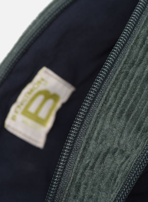 Handbags Bensimon CORDUROY ROUND BAG Green back view