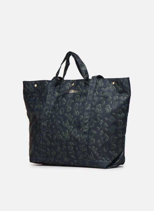 Handbags Bensimon NYLON LEOPARD TOTE Blue model view