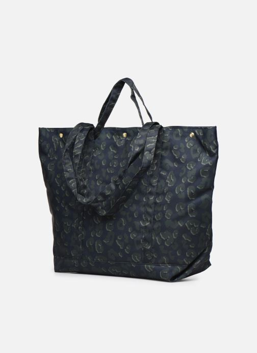Handbags Bensimon NYLON LEOPARD TOTE Blue view from the right
