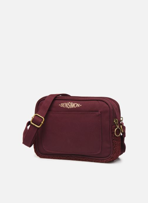 Handbags Bensimon LITTLE BESACE SHEARLING Burgundy model view