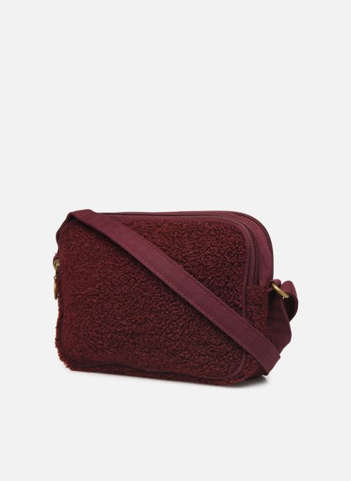 Handbags Bensimon LITTLE BESACE SHEARLING Burgundy view from the right