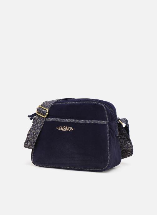 Handbags Bensimon SHINY VELVET SMALL BESACE Blue model view