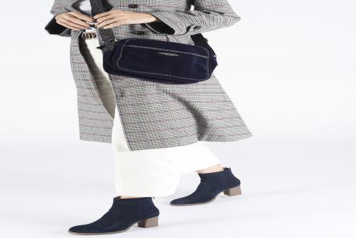 Handbags Bensimon SHINY VELVET SMALL BESACE Blue view from underneath / model view