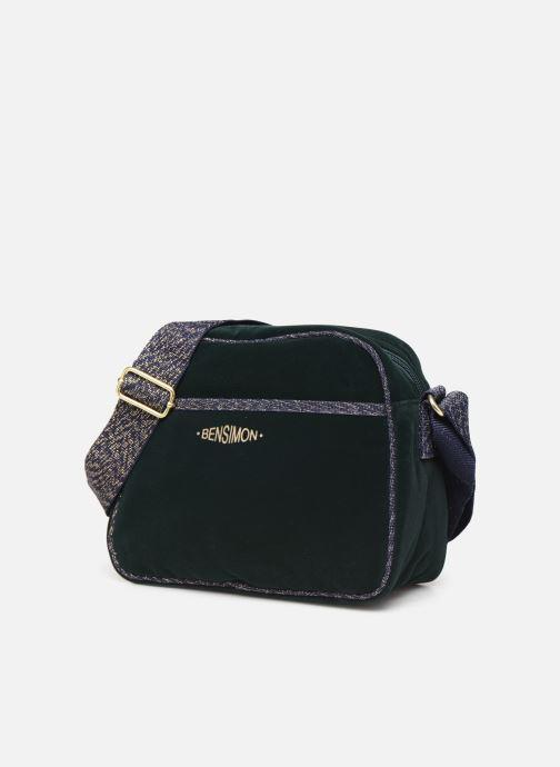 Handbags Bensimon SHINY VELVET SMALL BESACE Green model view