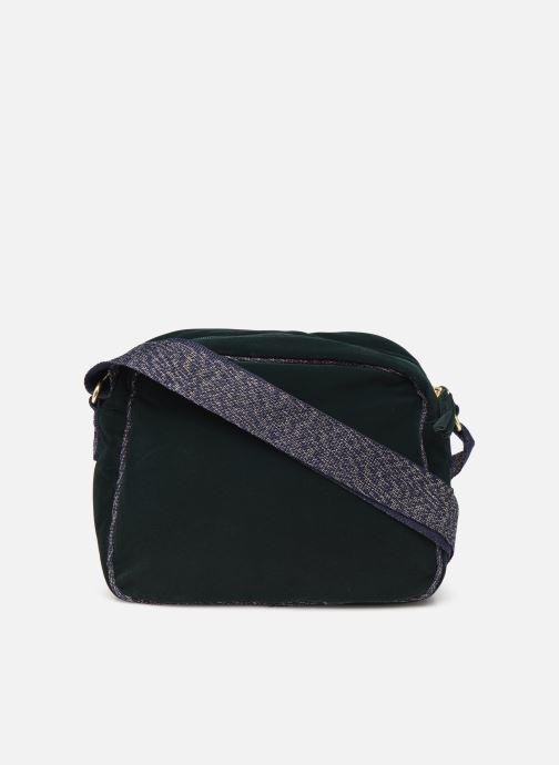 Handbags Bensimon SHINY VELVET SMALL BESACE Green front view