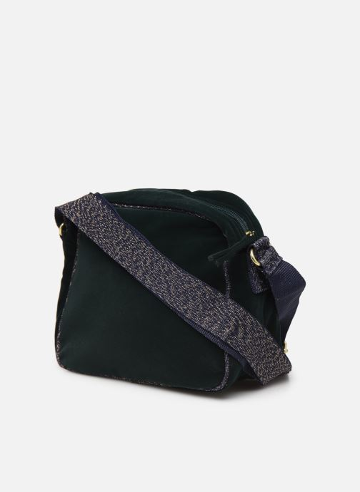 Handbags Bensimon SHINY VELVET SMALL BESACE Green view from the right