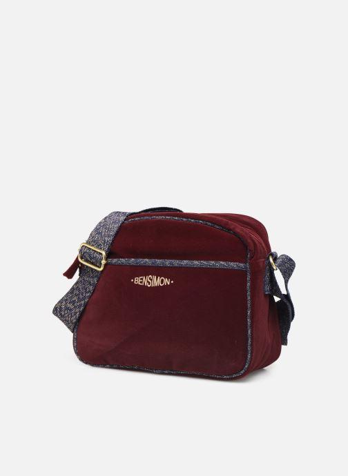 Handtaschen Bensimon SHINY VELVET SMALL BESACE weinrot schuhe getragen