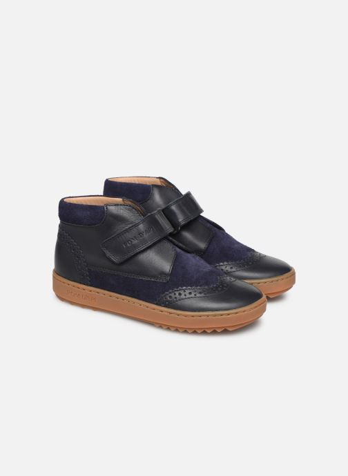 Chaussures à scratch Pom d Api Wouf easy pad Bleu vue 3/4