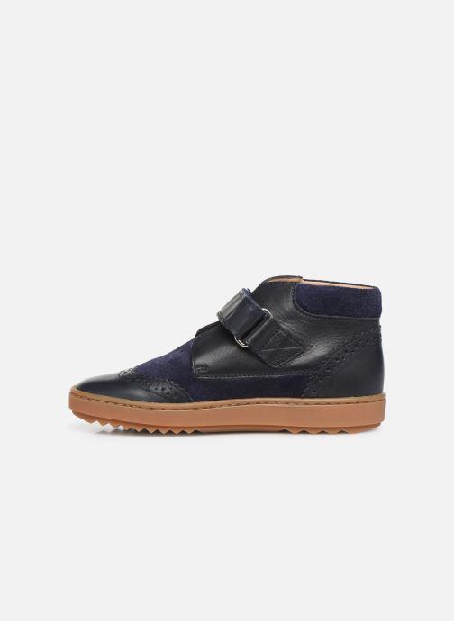 Chaussures à scratch Pom d Api Wouf easy pad Bleu vue face