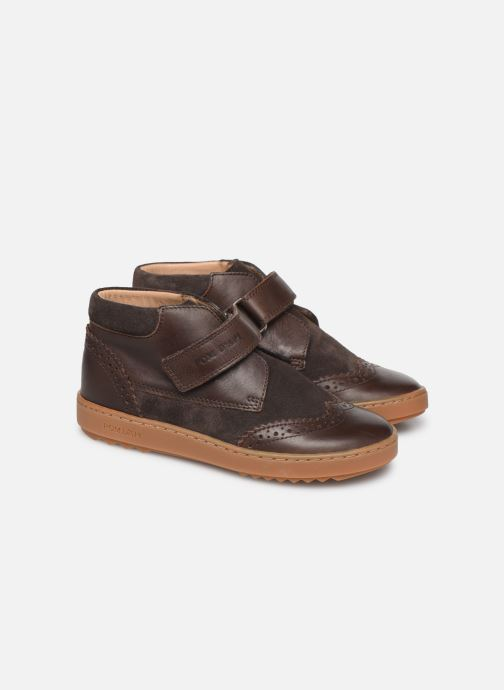 Velcro shoes Pom d Api Wouf easy pad Brown 3/4 view