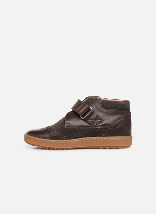 Velcro shoes Pom d Api Wouf easy pad Brown front view