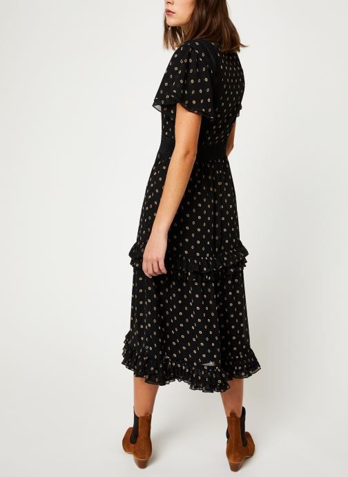 Vêtements Scotch & Soda Party dress with ruffles and lace panels Noir vue portées chaussures
