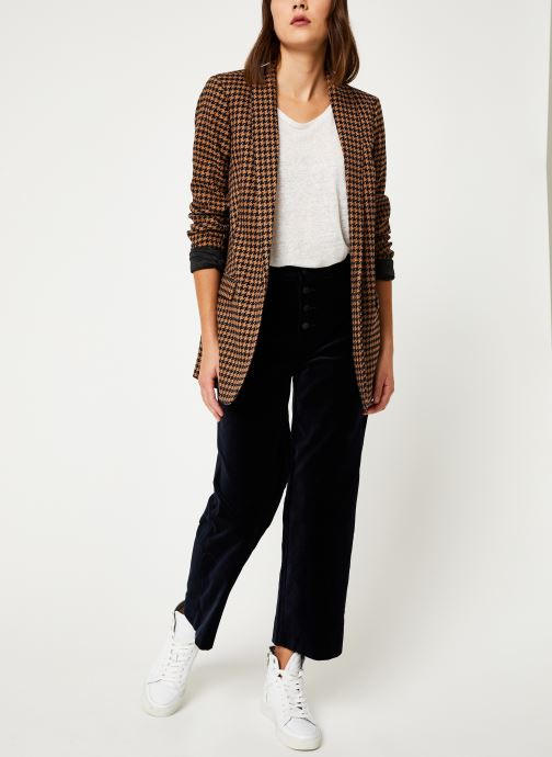 Vêtements Scotch & Soda Long tailored blazer in menswear patterns Marron vue bas / vue portée sac