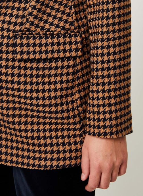 Vêtements Maison Scotch Long tailored blazer in menswear patterns Marron vue face