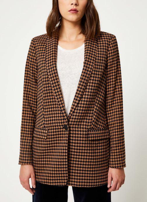 Vêtements Scotch & Soda Long tailored blazer in menswear patterns Marron vue droite