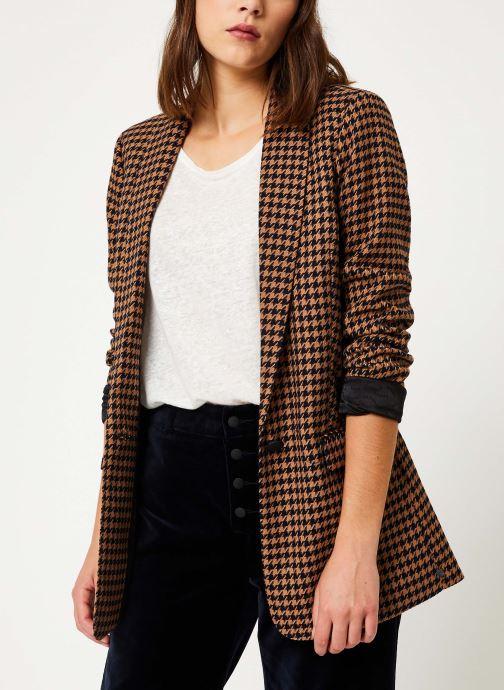 Vêtements Maison Scotch Long tailored blazer in menswear patterns Marron vue détail/paire