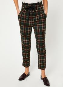 Pantalon carotte - Checked paperbag pants with she