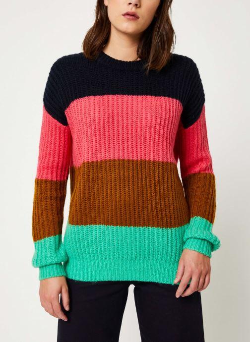 Vêtements Scotch & Soda Colour block crewneck  pullover Noir vue droite