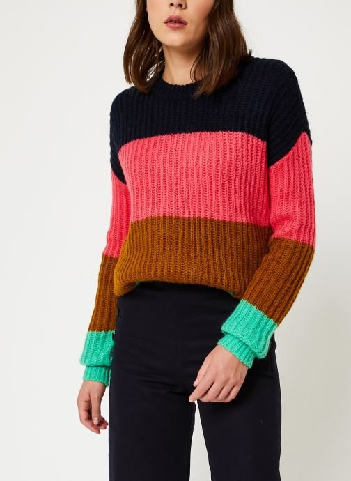 Vêtements Scotch & Soda Colour block crewneck  pullover Noir vue détail/paire