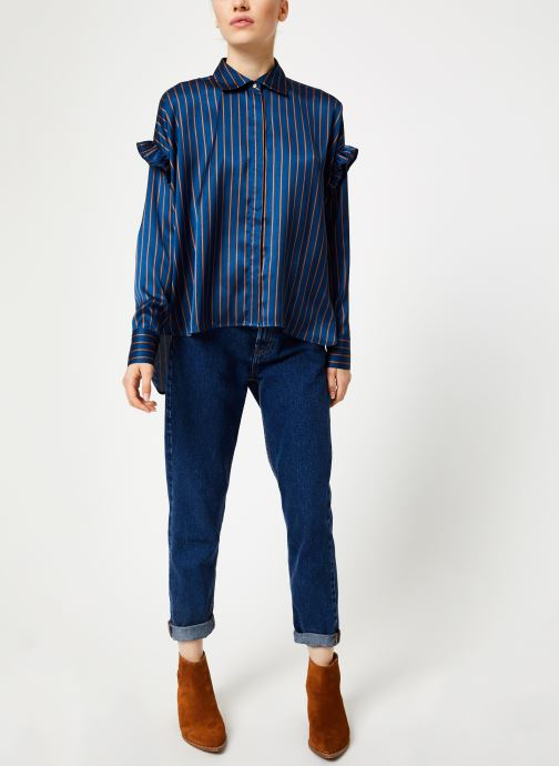 Vêtements Scotch & Soda Boxy fit striped button up shirt Bleu vue bas / vue portée sac