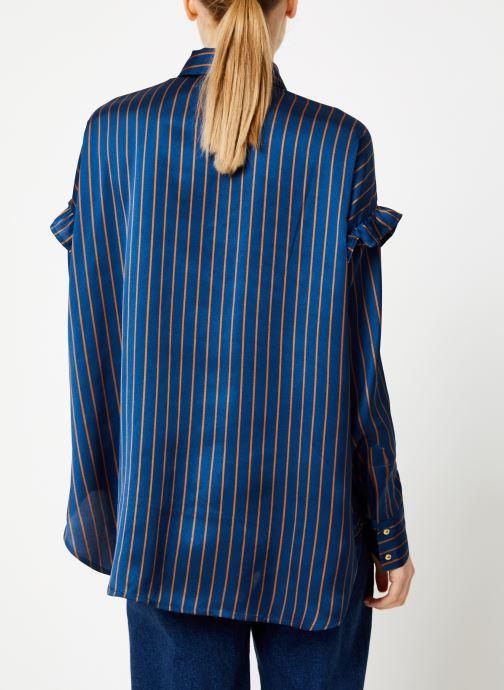 Vêtements Scotch & Soda Boxy fit striped button up shirt Bleu vue portées chaussures