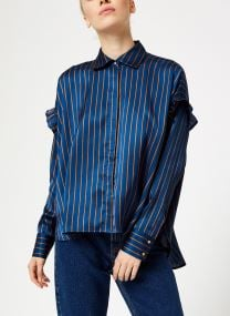Boxy fit striped button up shirt
