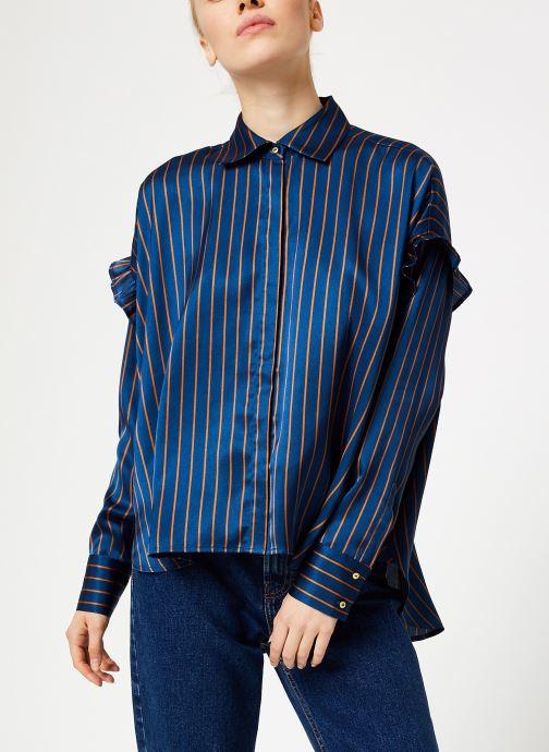 Vêtements Scotch & Soda Boxy fit striped button up shirt Bleu vue détail/paire