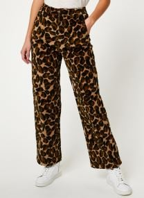 Wide leg corduroy pants in allover animal print