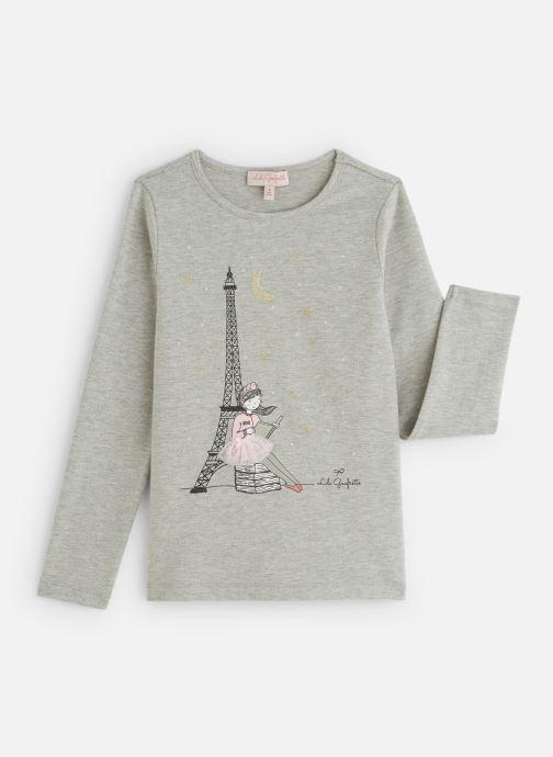 """Kleding Lili Gaufrette T-Shirt """"Tour Eiffel"""" Gris Clair Grijs detail"""