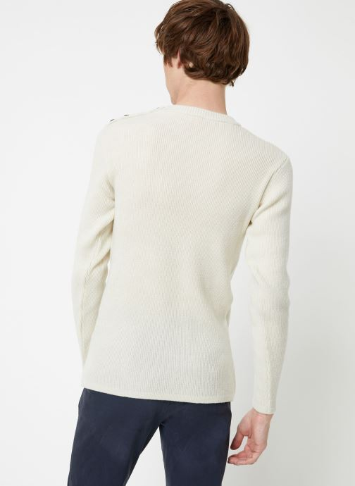 Vêtements Armor Lux Pull Marin Héritage Blanc vue portées chaussures