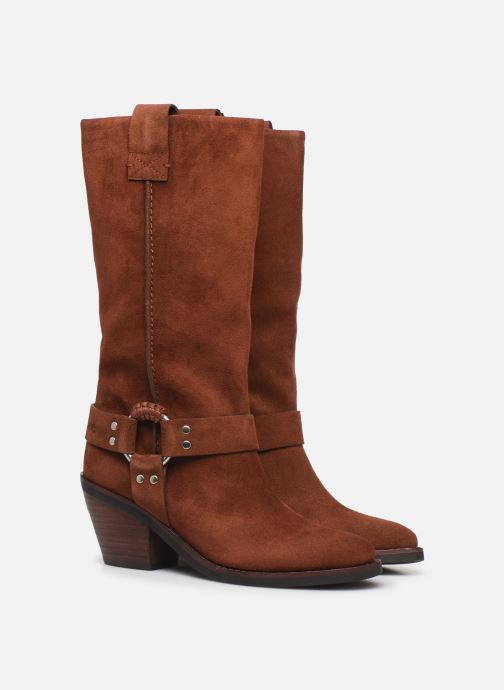 Bottes See by Chloé F Eddie high boot Marron vue 3/4