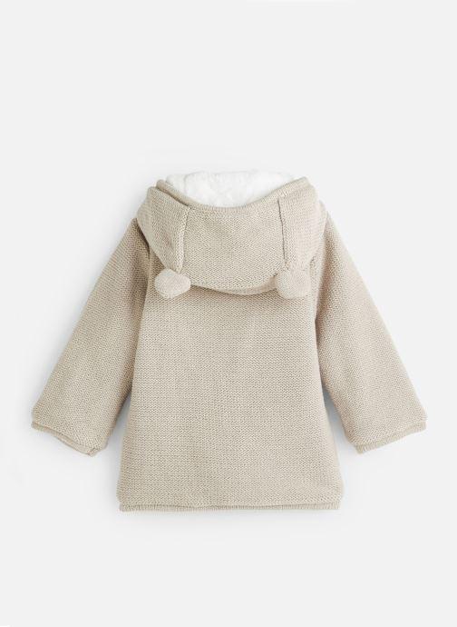 Vêtements Absorba Manteau tricot polaire à capuche - Framboise Gris vue bas / vue portée sac