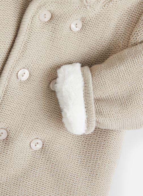 Vêtements Absorba Manteau tricot polaire à capuche - Framboise Gris vue portées chaussures