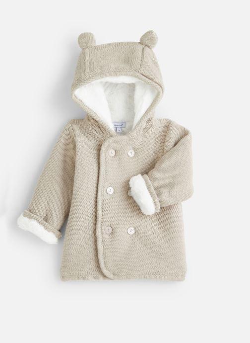 Vêtements Absorba Manteau tricot polaire à capuche - Framboise Gris vue détail/paire
