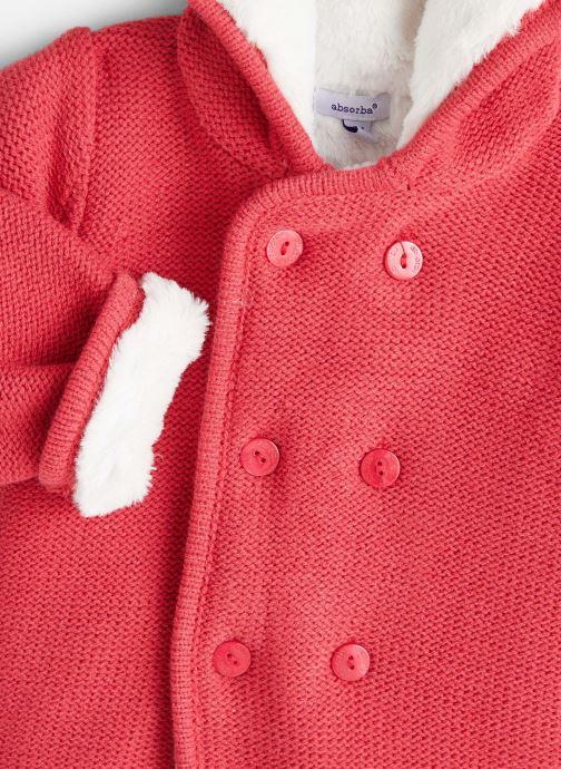 Vêtements Absorba Manteau tricot polaire à capuche - Framboise Rouge vue portées chaussures