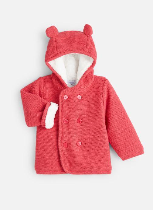 Vêtements Absorba Manteau tricot polaire à capuche - Framboise Rouge vue détail/paire