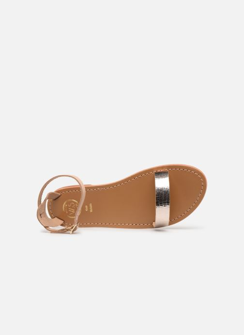 Sandals White Sun Hianna Bronze and Gold view from the left