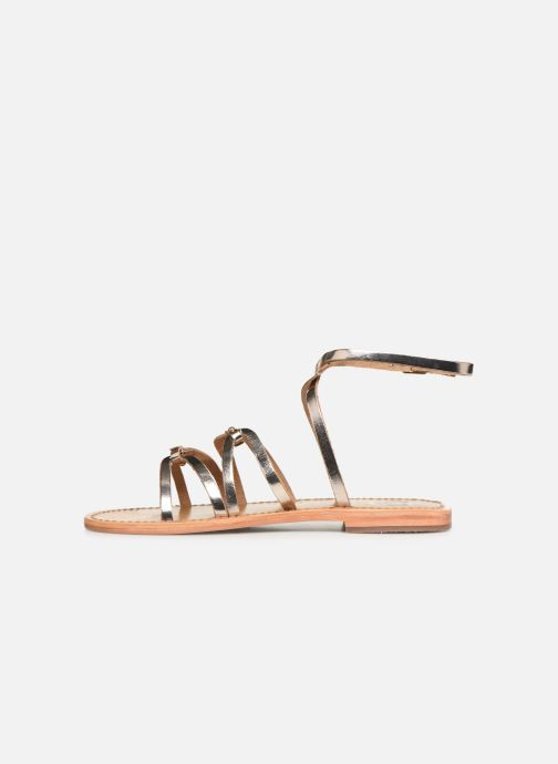 Sandals White Sun Viky Bronze and Gold front view