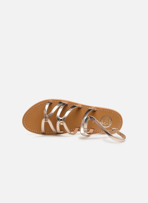 Sandals White Sun Viky Bronze and Gold view from the left