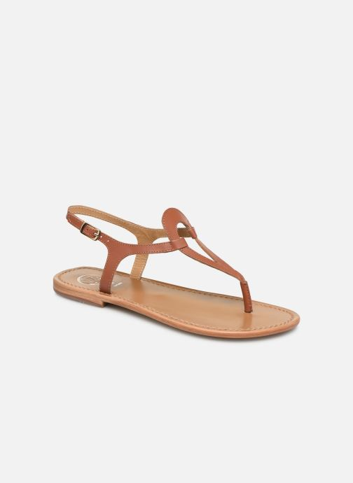 Sandals White Sun Varde Brown detailed view/ Pair view