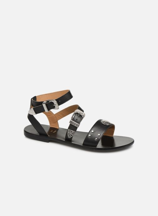 Sandals White Sun Macarella Black detailed view/ Pair view