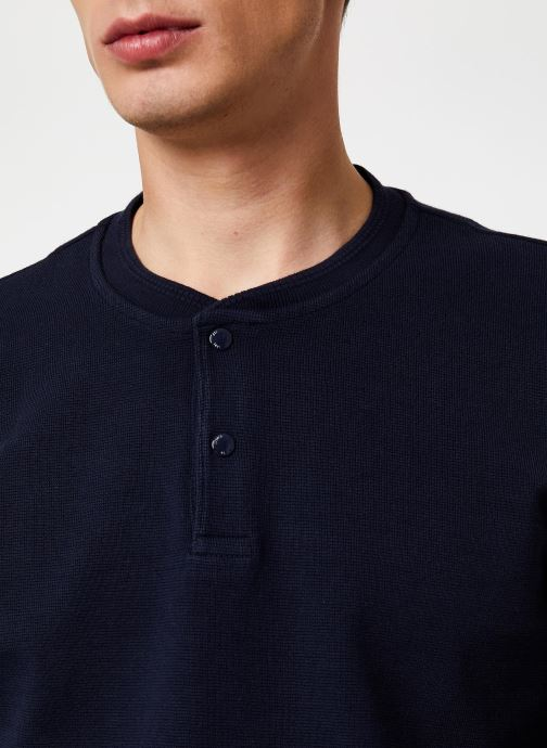 Vêtements Scotch & Soda Longsleeve grandad tee in waffle structured quality Bleu vue face